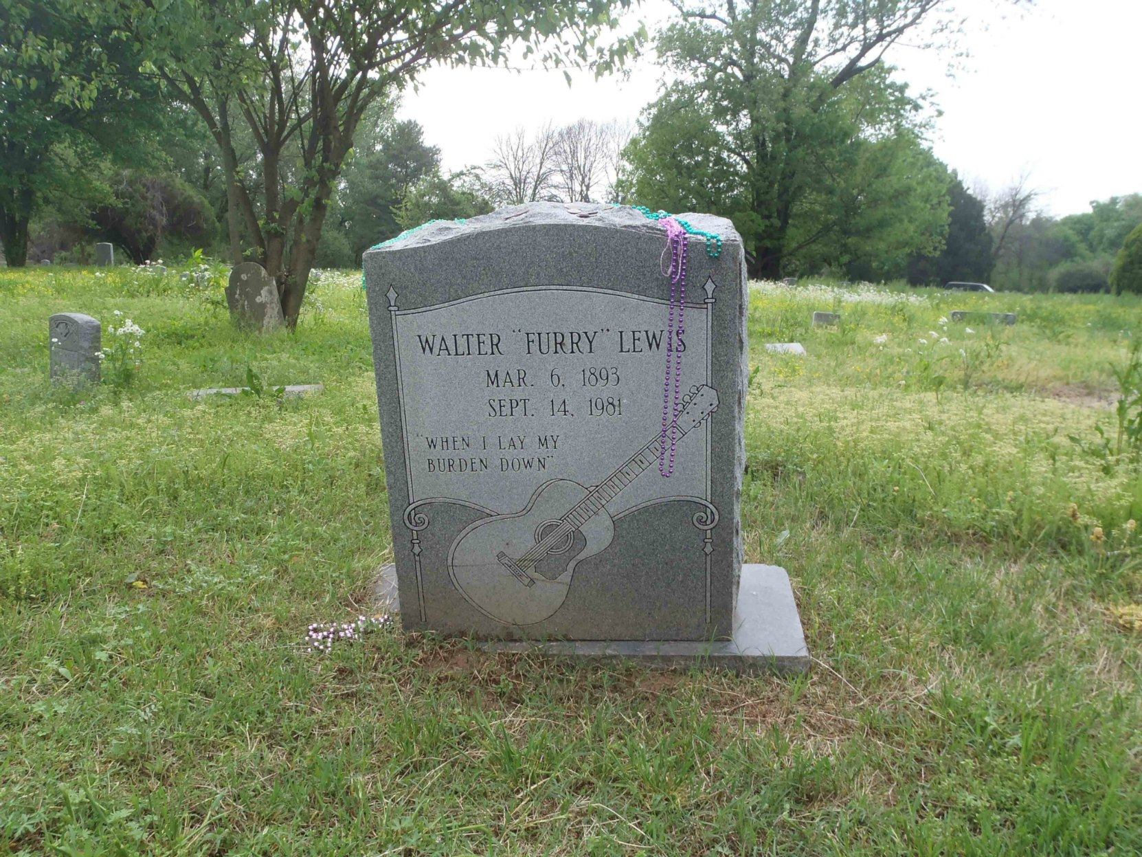 "Headstone on Walter ""Furry"" Lewis grave in Hollywood Cemetery"