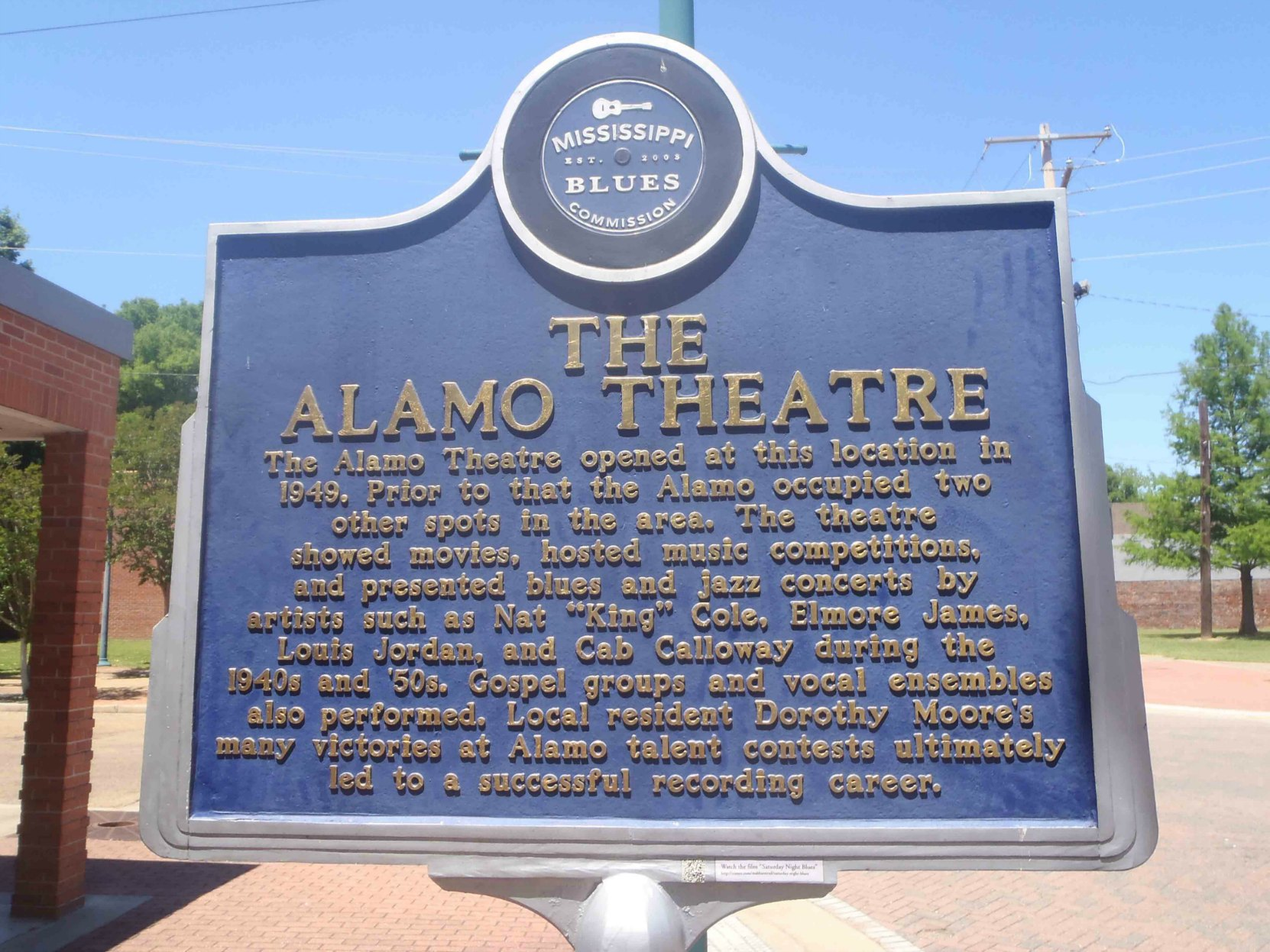 Mississippi Blues Trail marker for the Alamo Theatre, Farish Street, Jackson, Mississippi