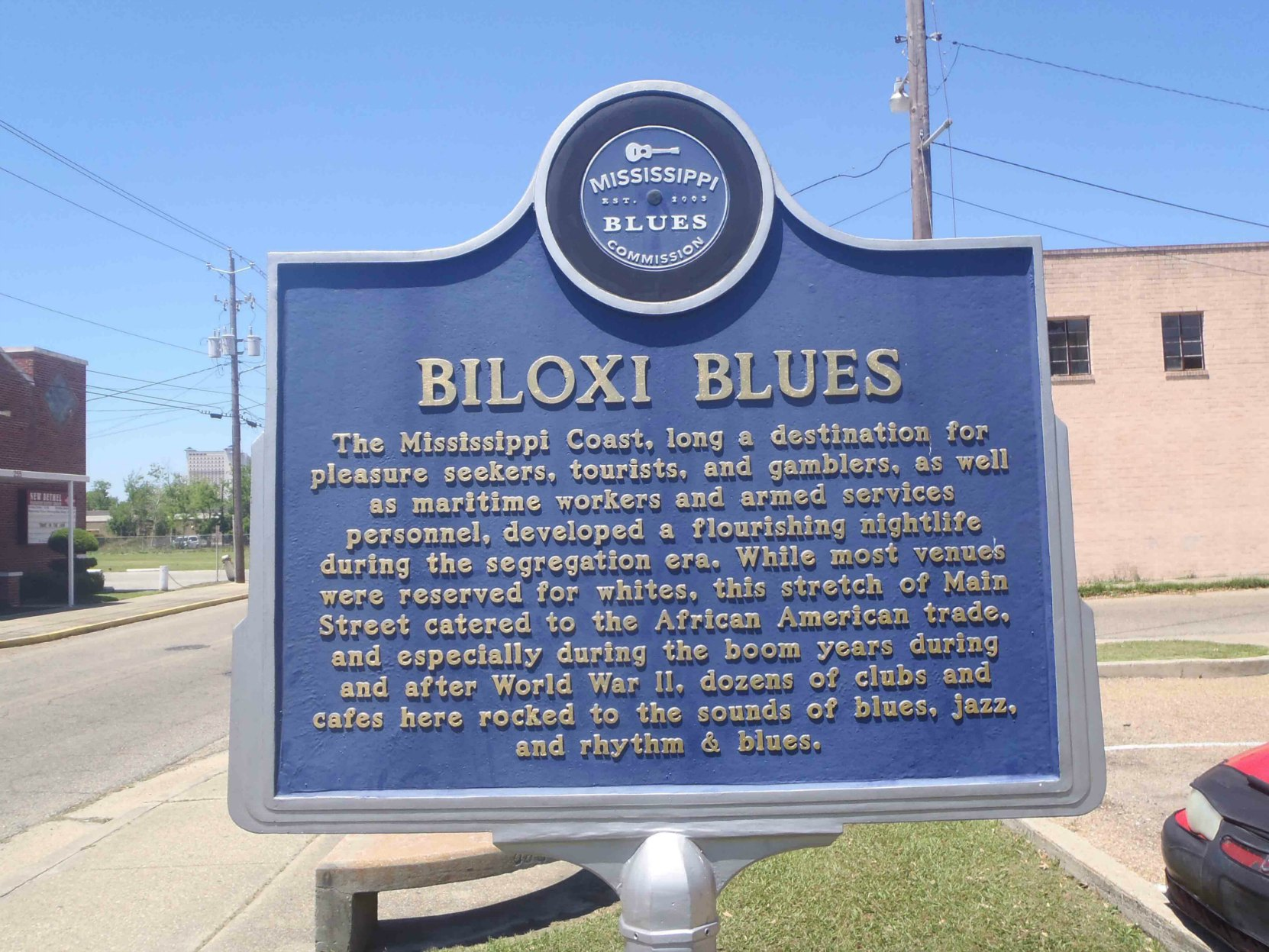 Mississippi Blues Trail marker, Biloxi Blues, Main Street, Biloxi, Mississippi