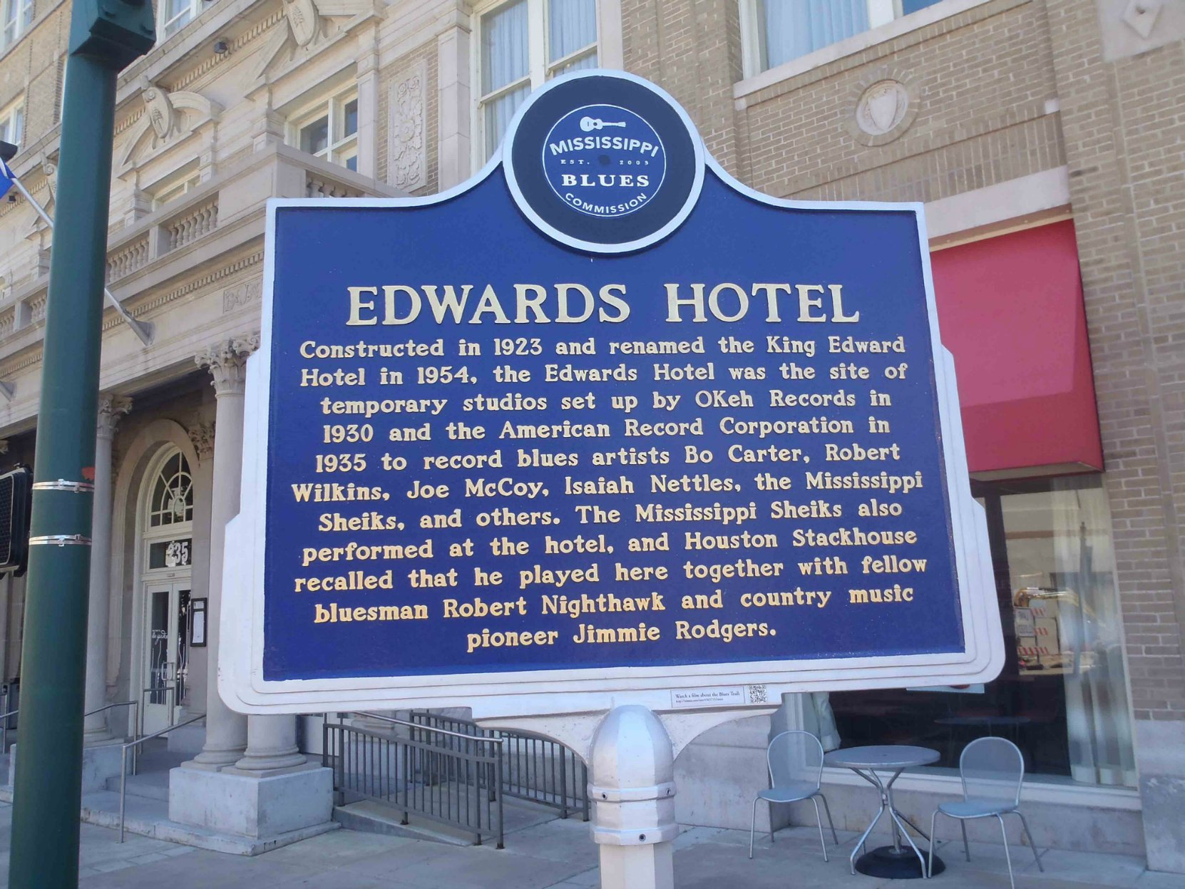 Mississippi Blues Trail marker for Edwards Hotel, Jackson, Mississippi