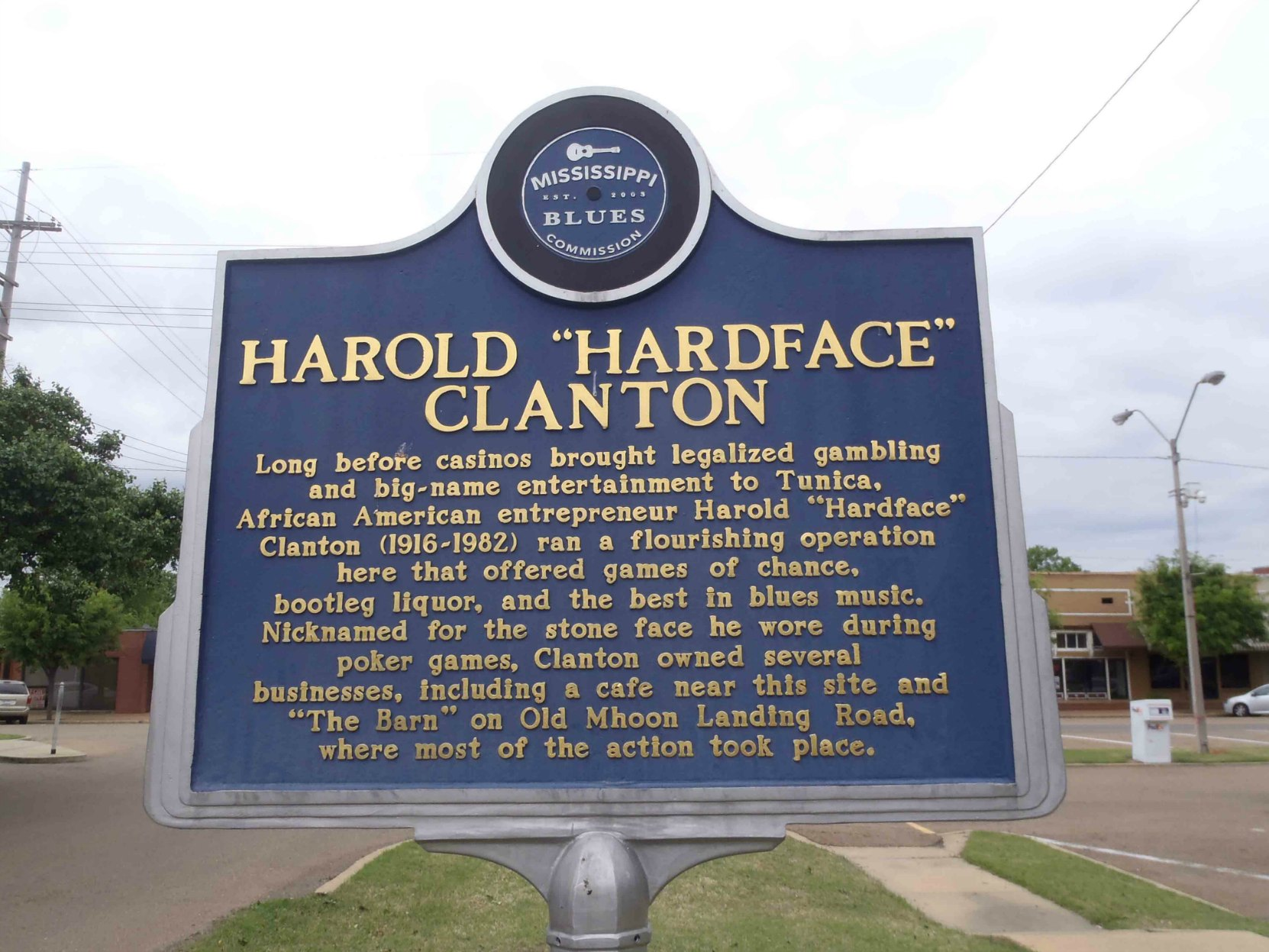 Mississippi Blues Trail marker commemorating Hardface Clanton, Tunica County, Mississippi