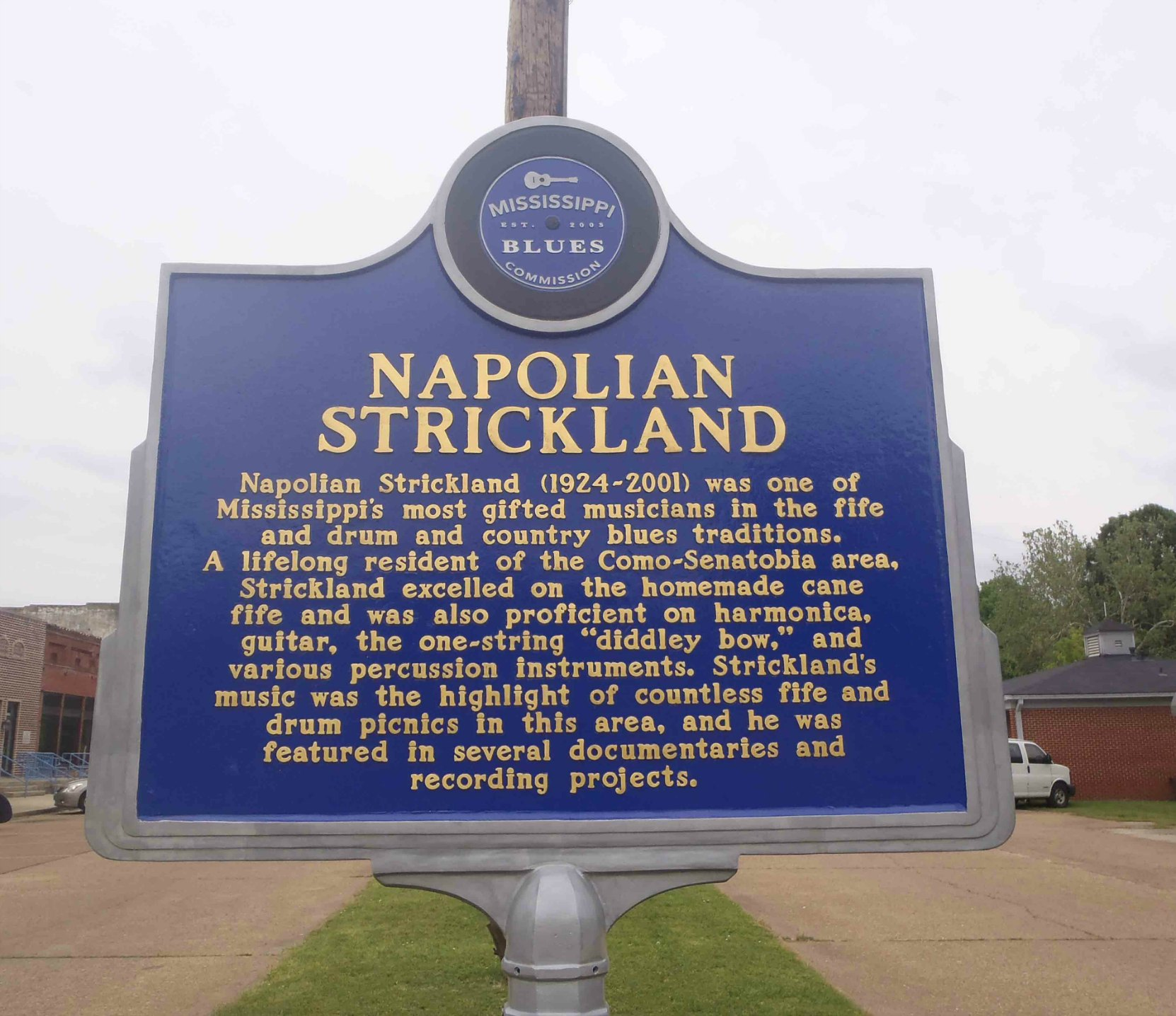 Mississippi Blues Trail marker for Napolian Strickland, Como, Mississippi