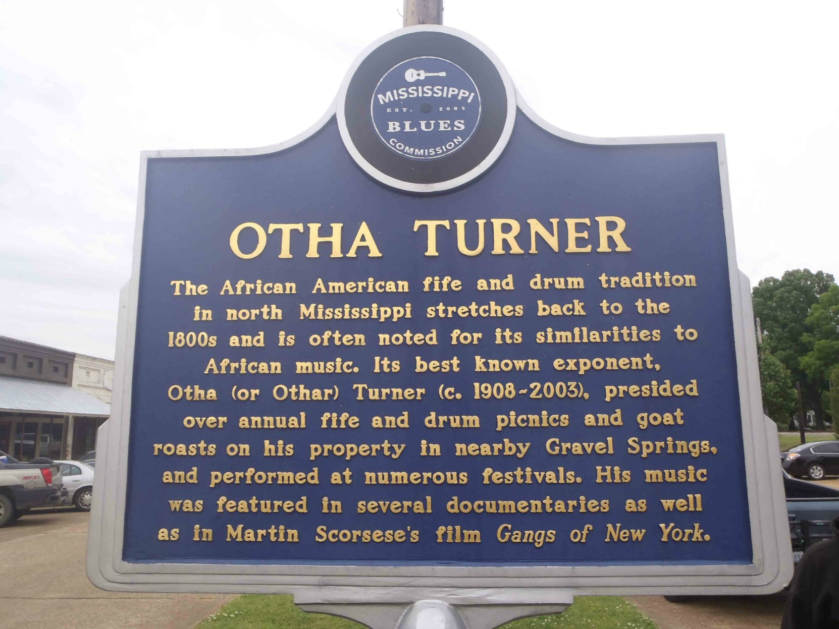 Mississippi Blues Trail marker for Otha Turner, Como, Mississippi