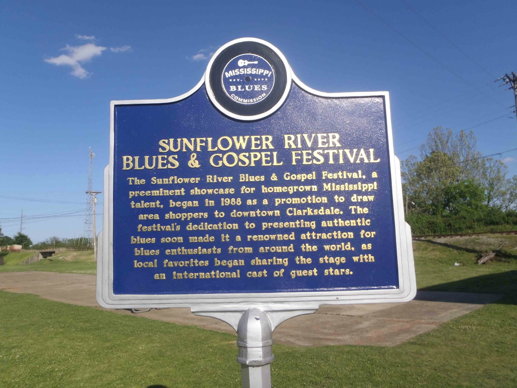 Mississippi Blues Trail marker for Sunflower River Blues & Gospel Festival, Clarksdale, Mississippi