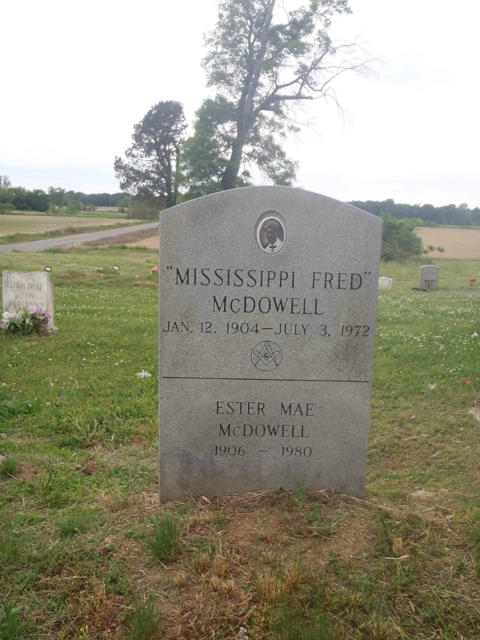 Mississippi Fred McDowell grave marker, front side, Hammond Hill Missionary baptist Church cemetery, Como, Mississippi