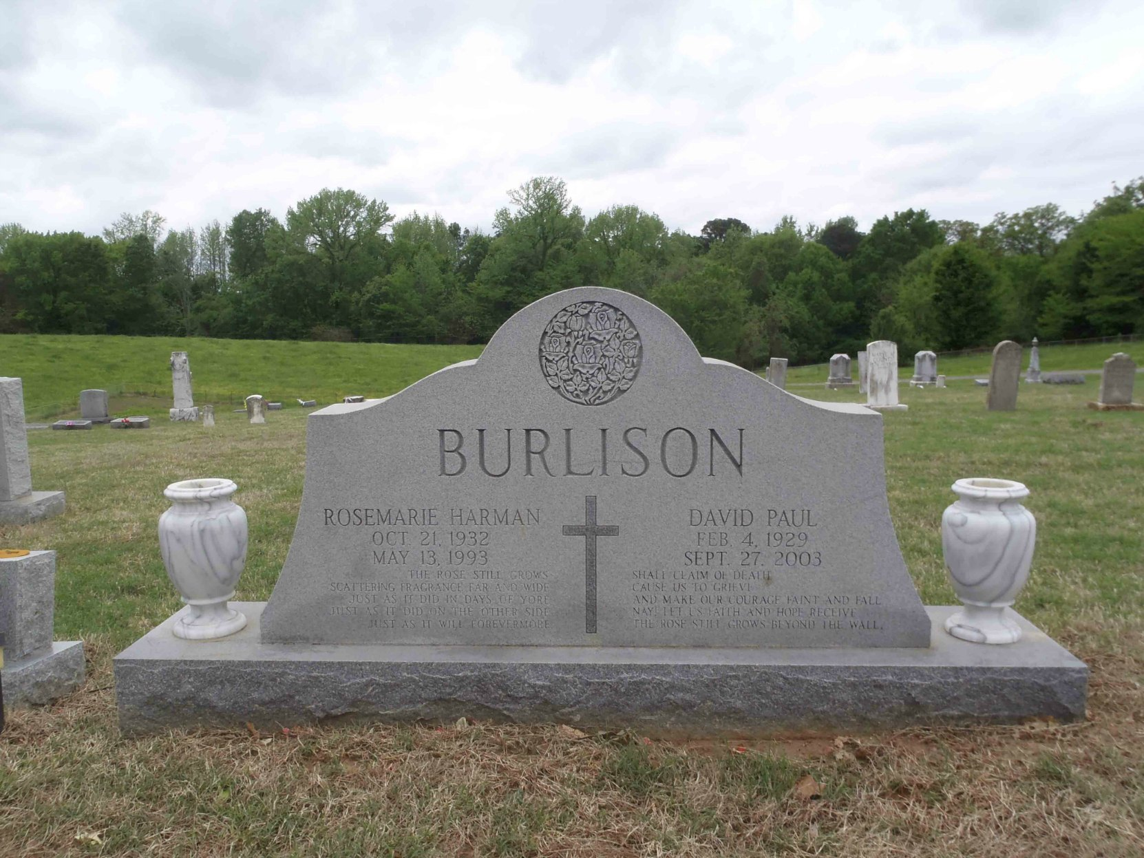Paul Burlison headstone, Hinds Chapel Cemetery