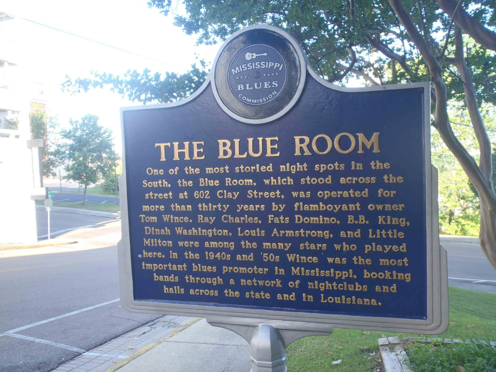 Mississippi Blues Trail marker for The Blue Room, Vicksburg, Mississippi