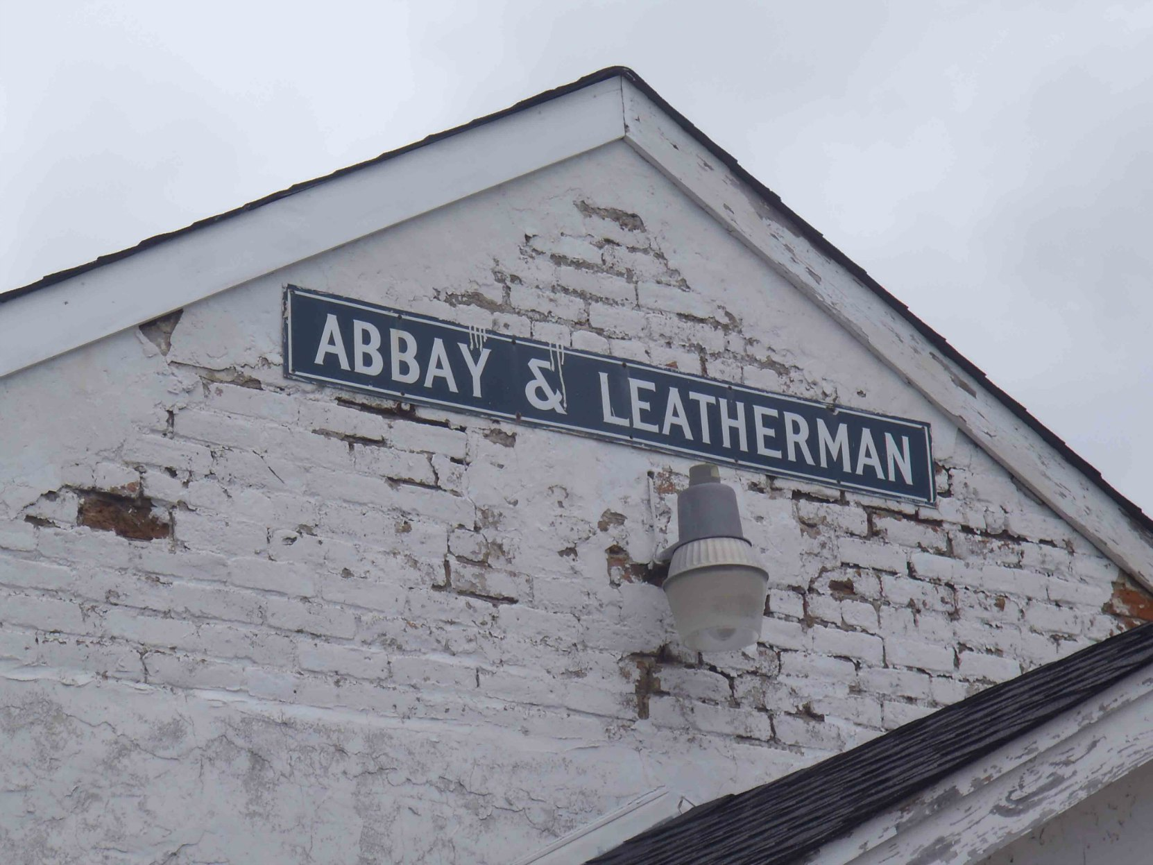 Abbay & Leatherman sign on plantation commissary building, Tunica County, Mississippi