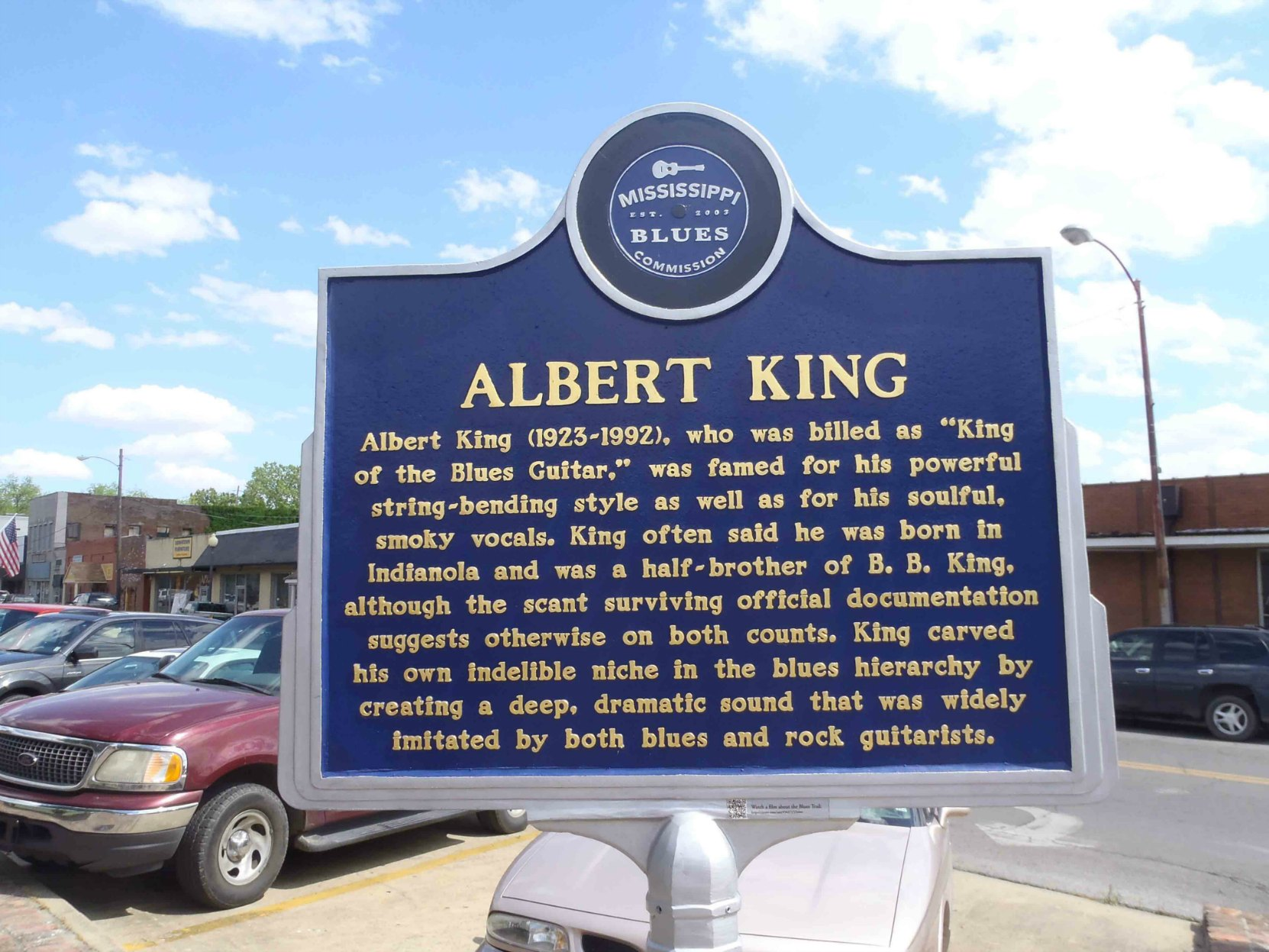 Mississippi Blues Trail marker for Albert King, Indianola, Mississippi