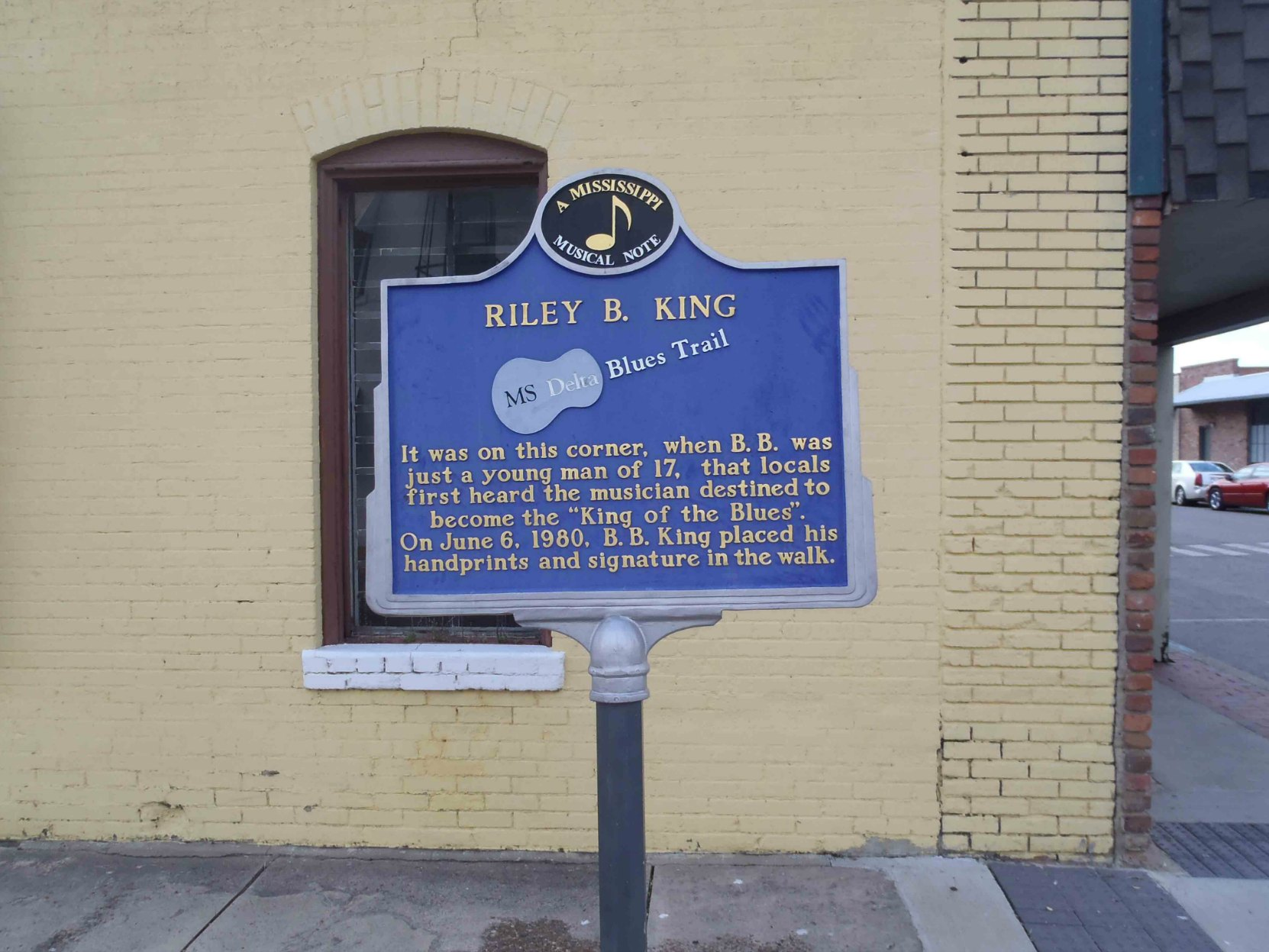 "MS Delta Blues Trail marker at B.B. King's ""favorite corner"", Second Street and Church Street, Indianola, Mississippi"