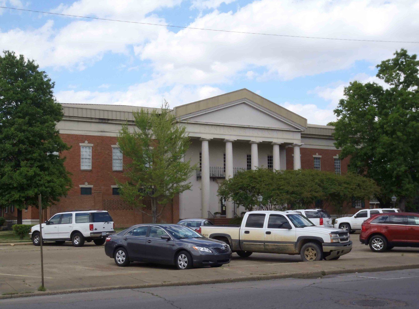 "Sunflower County Courthouse at B.B. King's ""favorite corner"", Second Street and Church Street, Indianola, Mississippi"
