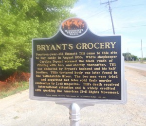 Mississippi Freedom Trail marker for Bryant's Grocery, Money, Mississippi
