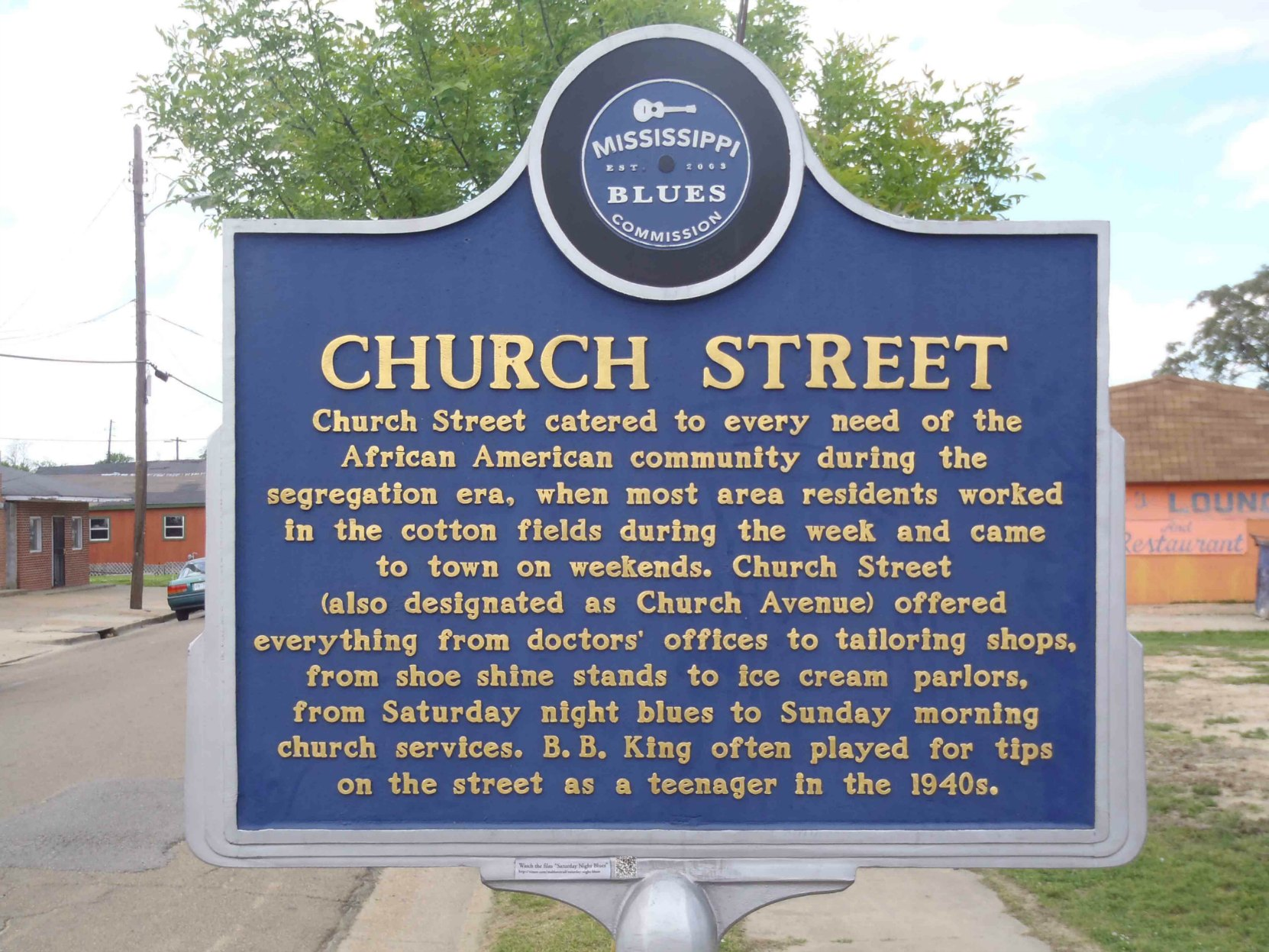Mississippi Blues Trail marker commemorating Church Street, Indianola, Mississippi