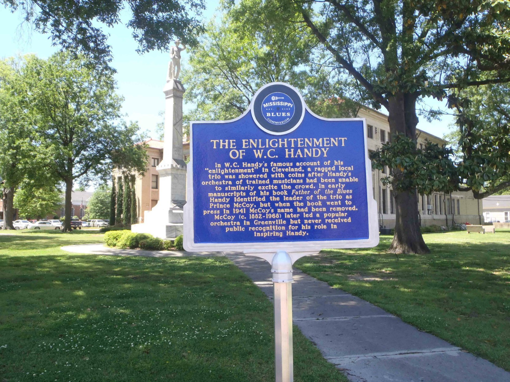 Mississippi Blues Trail marker commemorating The Enlightenment Of W.C. Handy, outside the Bolivar County Courthouse, Cleveland, Mississippi
