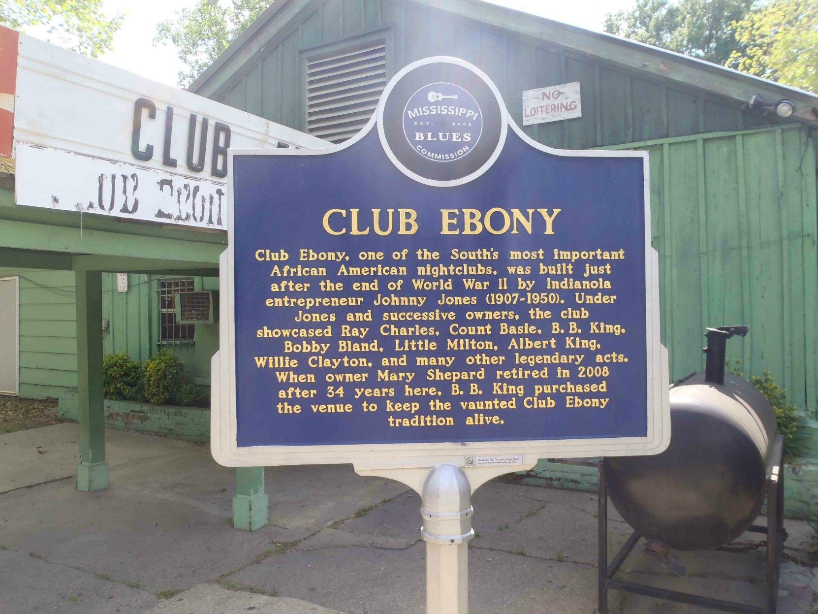 Mississippi Blues Trail marker at Club Ebony, Indianola, Mississippi