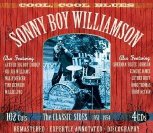 CD cover, Sonny Boy Williamson - Cool, Cool Blues, a 4CD compilation of Trumpet Records releases from JSP Records