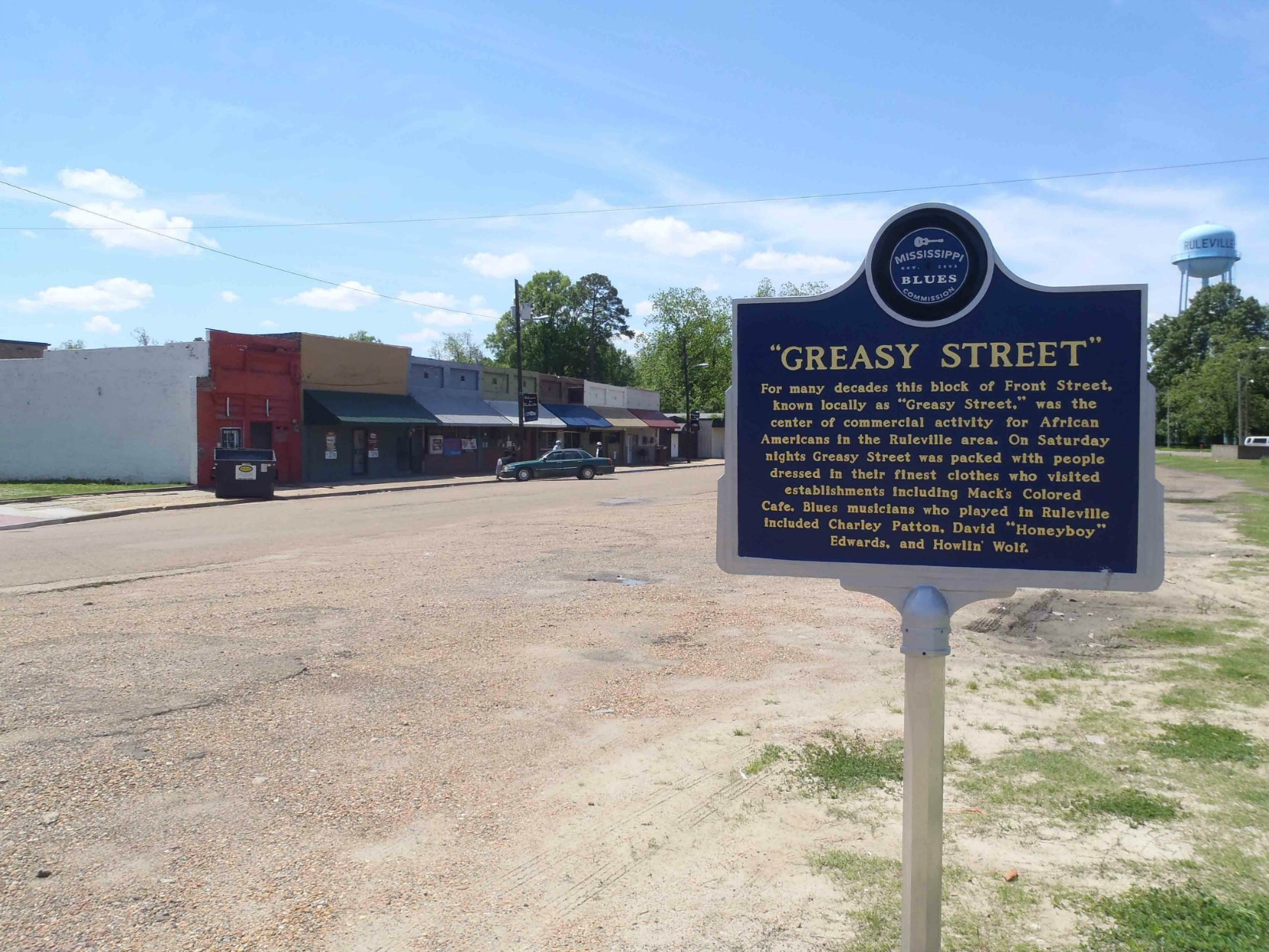 Mississippi Blues Trail marker commemorating Greasy Street, Ruleville, Mississippi