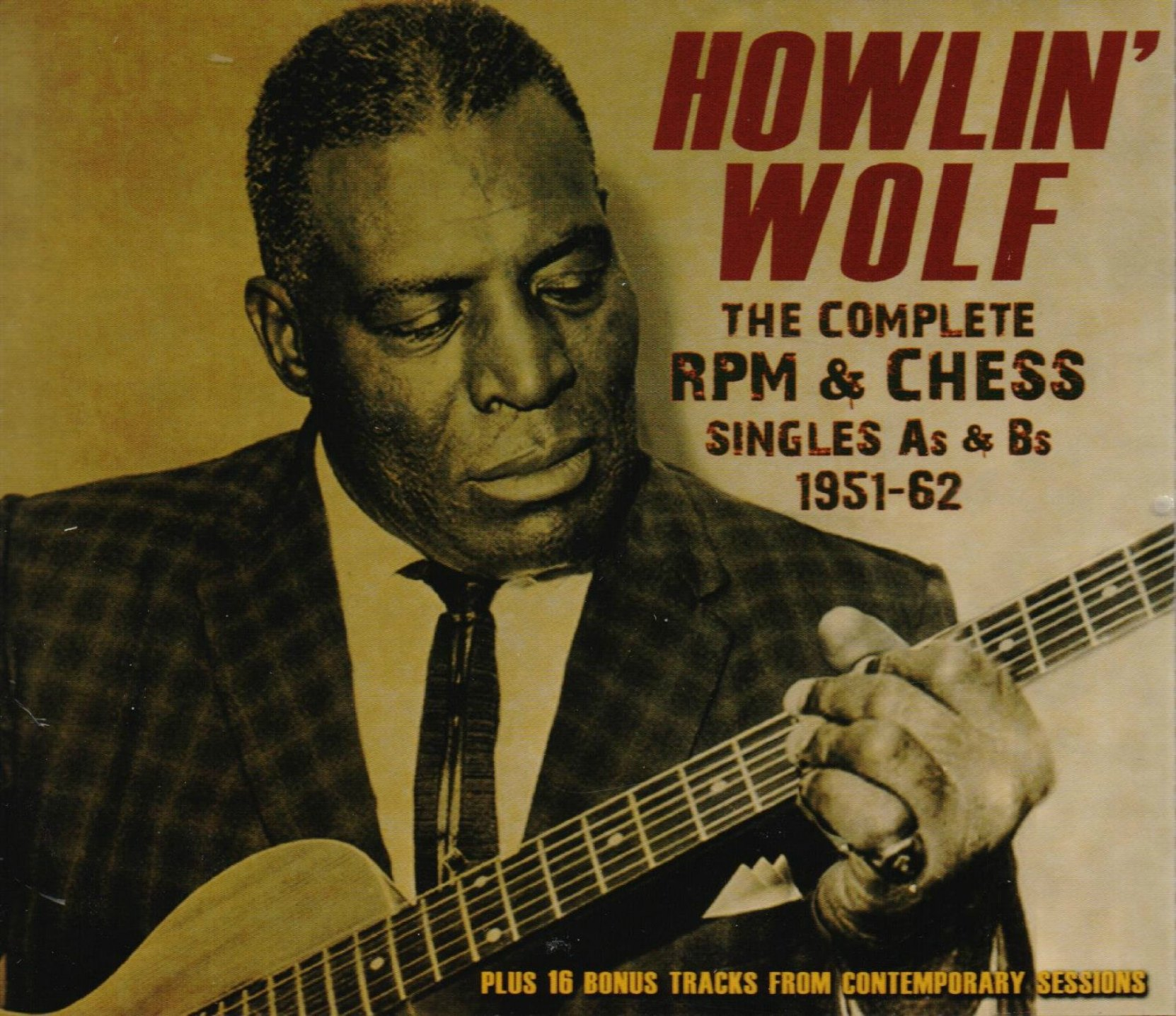 CD cover, Howlin' Wolf, The Complete RPM & Chess Singles As & Bs 1951-62, on Acrobat Records
