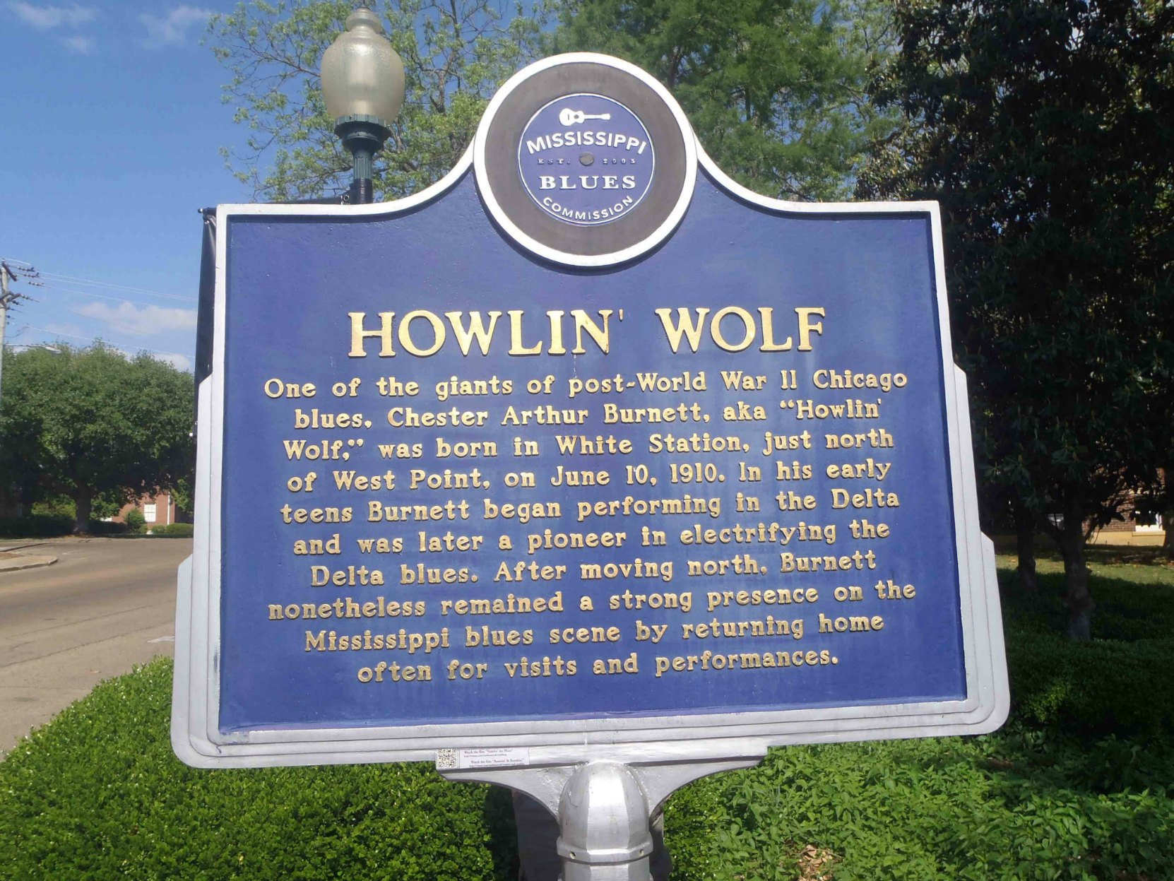 Mississippi Blues Trail marker for Howlin' Wolf , West Point, Clay County, Mississippi