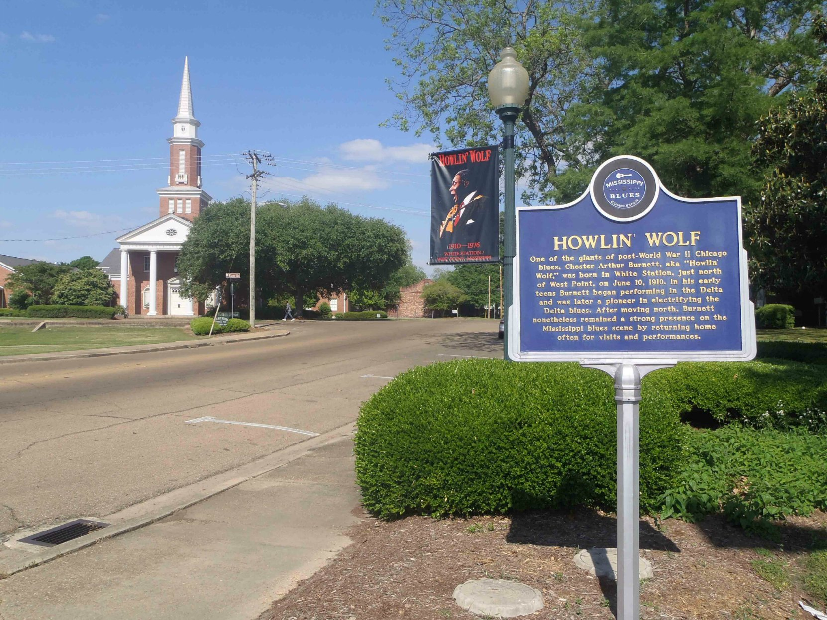 Mississippi Blues Trail marker for Howlin' Wolf, West Point, Clay County, Mississippi