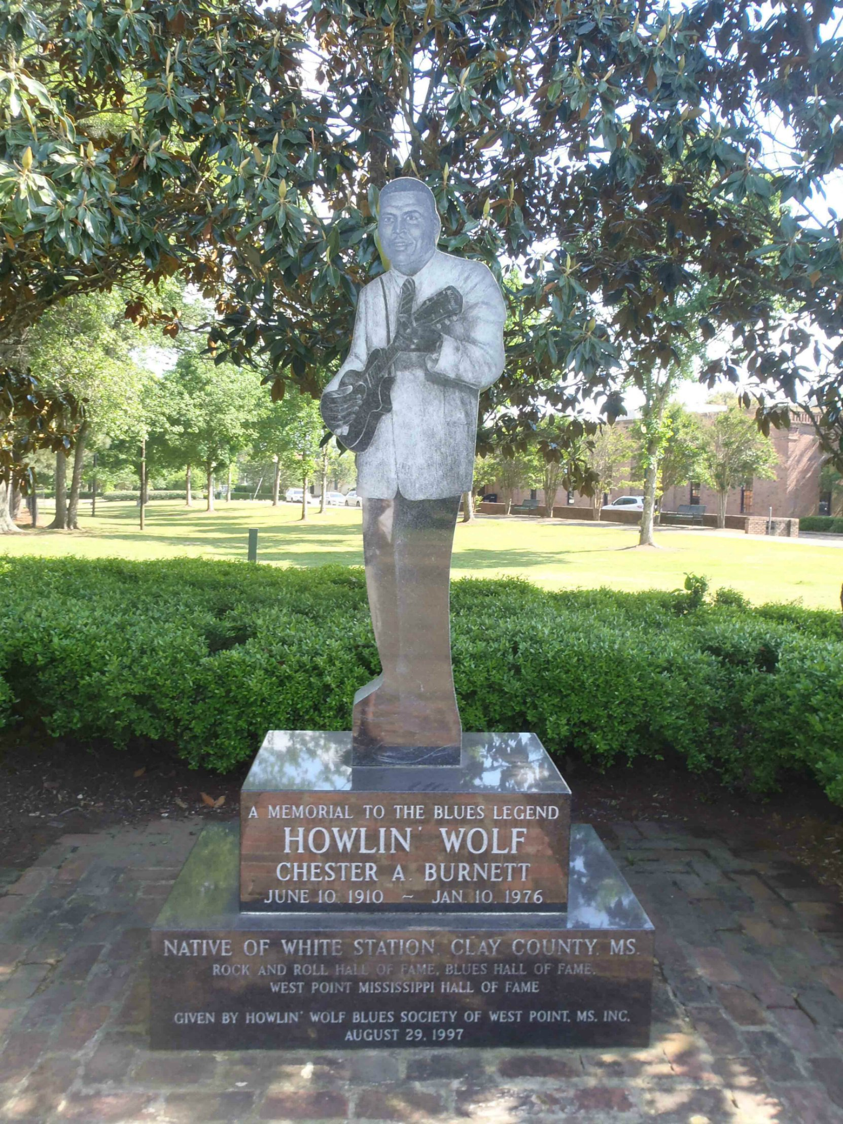 Howlin' Wolf Blues Society marker for Howlin' Wolf , West Point, Clay County, Mississippi