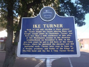 Mississippi Blues Trail marker for Ike Turner, Clarksdale, Mississippi