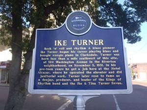 Mississippi Blues Trail marker for Ike Turner, Clarksdale, Mississippi