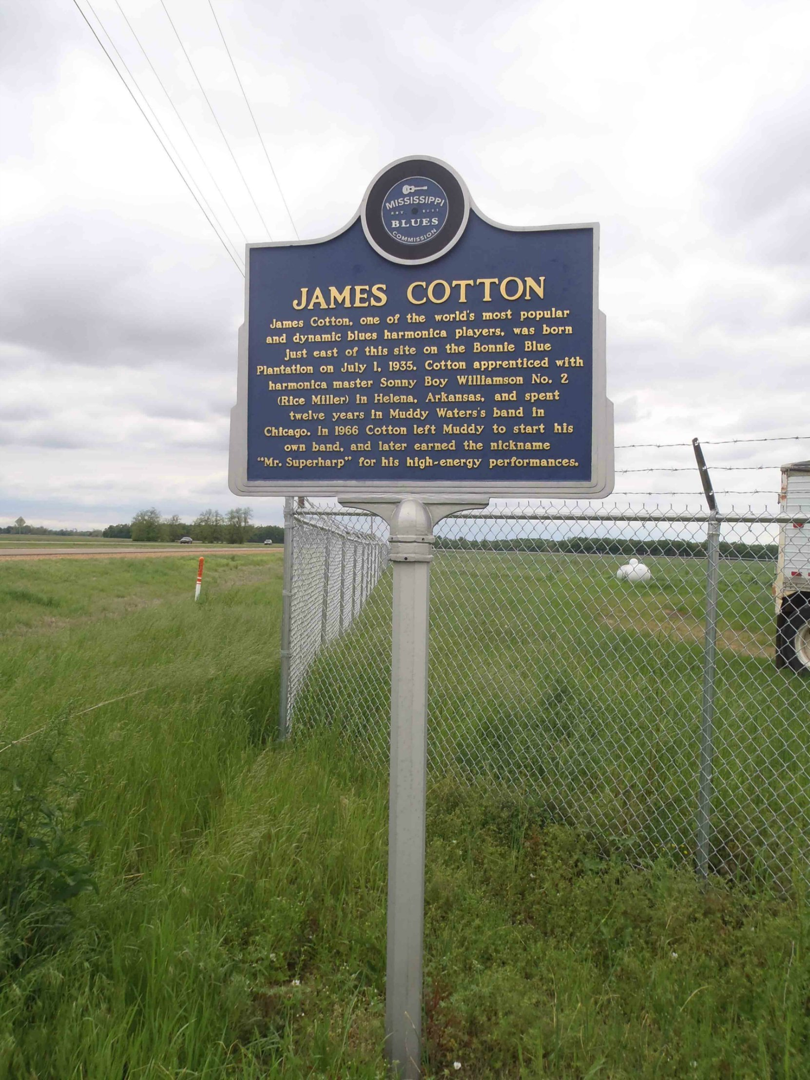 Mississippi Blues Trail marker for James Cotton, Highway 61 and Bonnie Blue Road, Tunica County, Mississippi