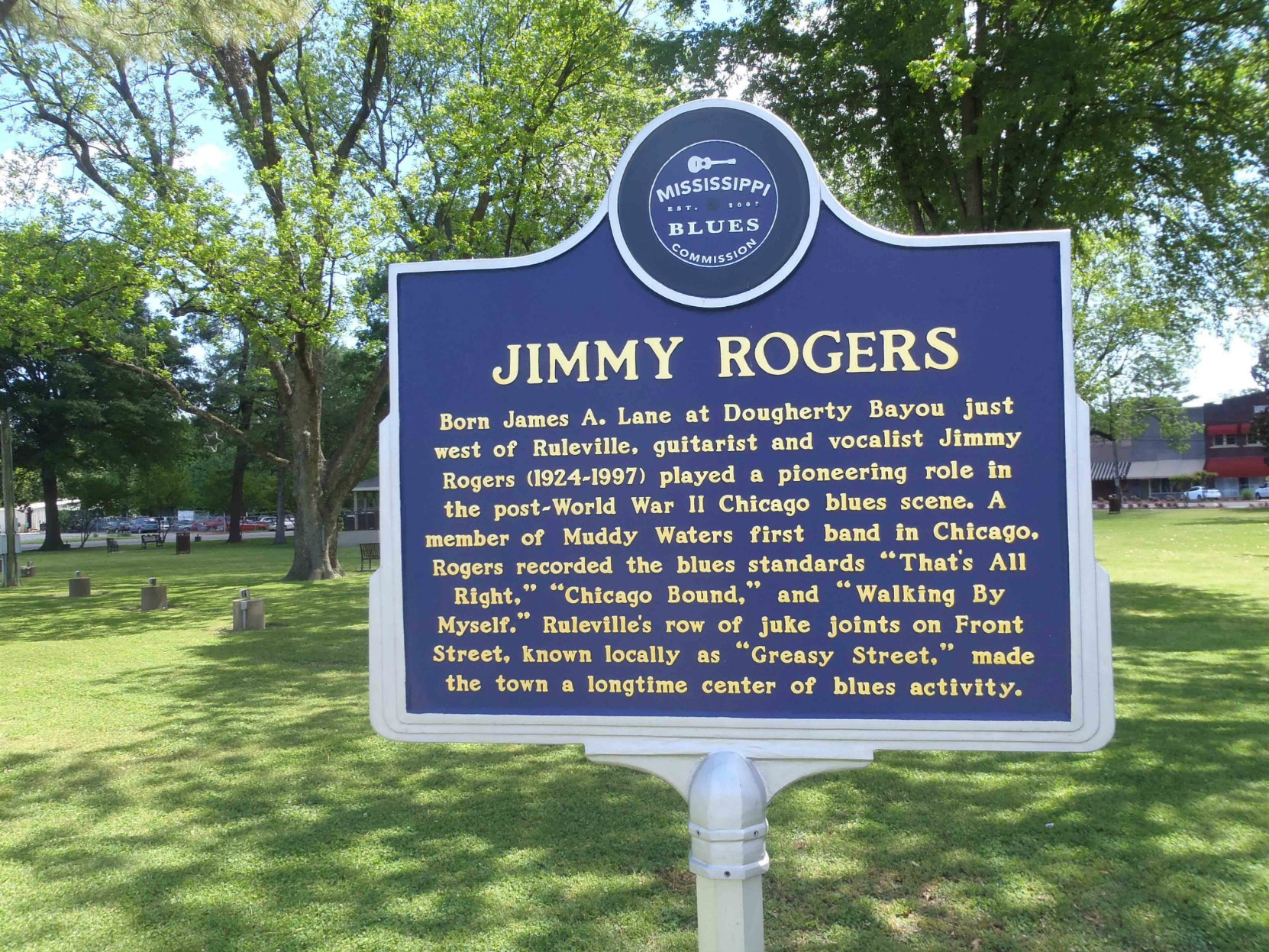 Mississippi Blues Trail marker commemorating Jimmy Rogers, Ruleville, Mississippi