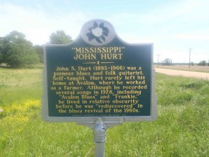 Mississippi Department of Archives and History marker for Mississippi John Hurt, Highway 7, Avalon, Mississippi.