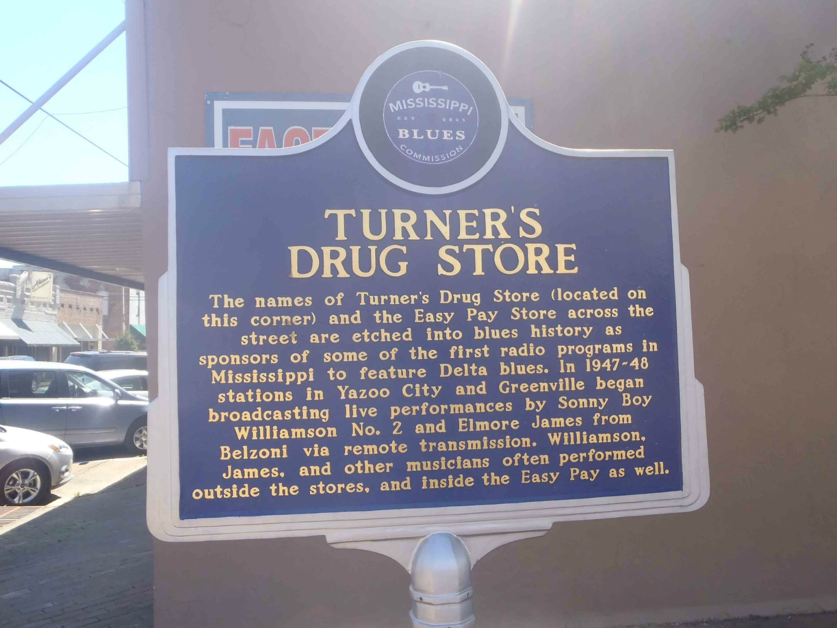 Mississippi Blues Trail marker for Turner's Drug Store, Belzoni, Mississippi