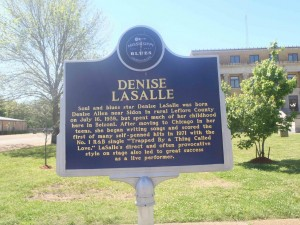 Mississippi Blues Trail marker for Denise Lasalle, Belzoni, Mississippi