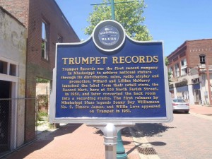 Mississippi Blues Trail marker for Trumpet Records, Farish Street, Jackson, Mississippi