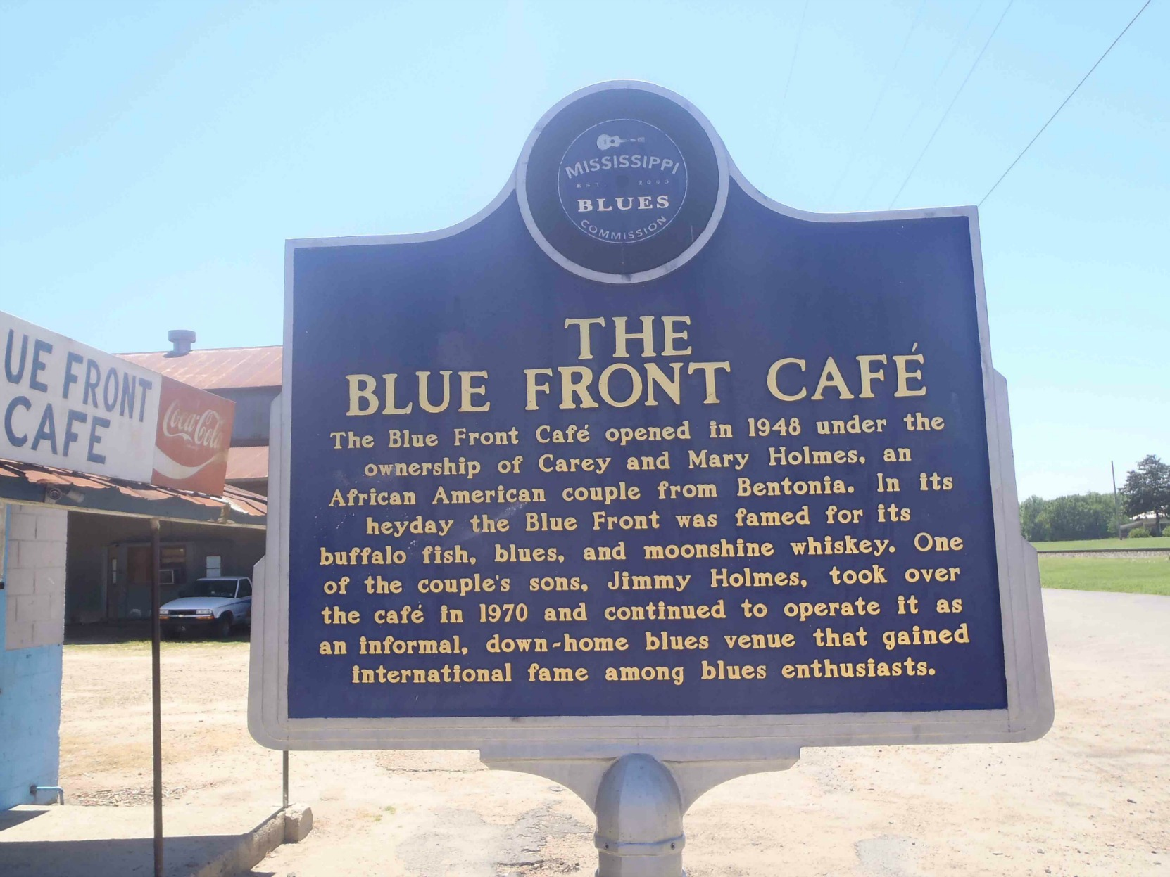 The Mississippi Blues Trail marker outside the Blue Front Cafe, Bentonia, Yazoo County, Mississippi.