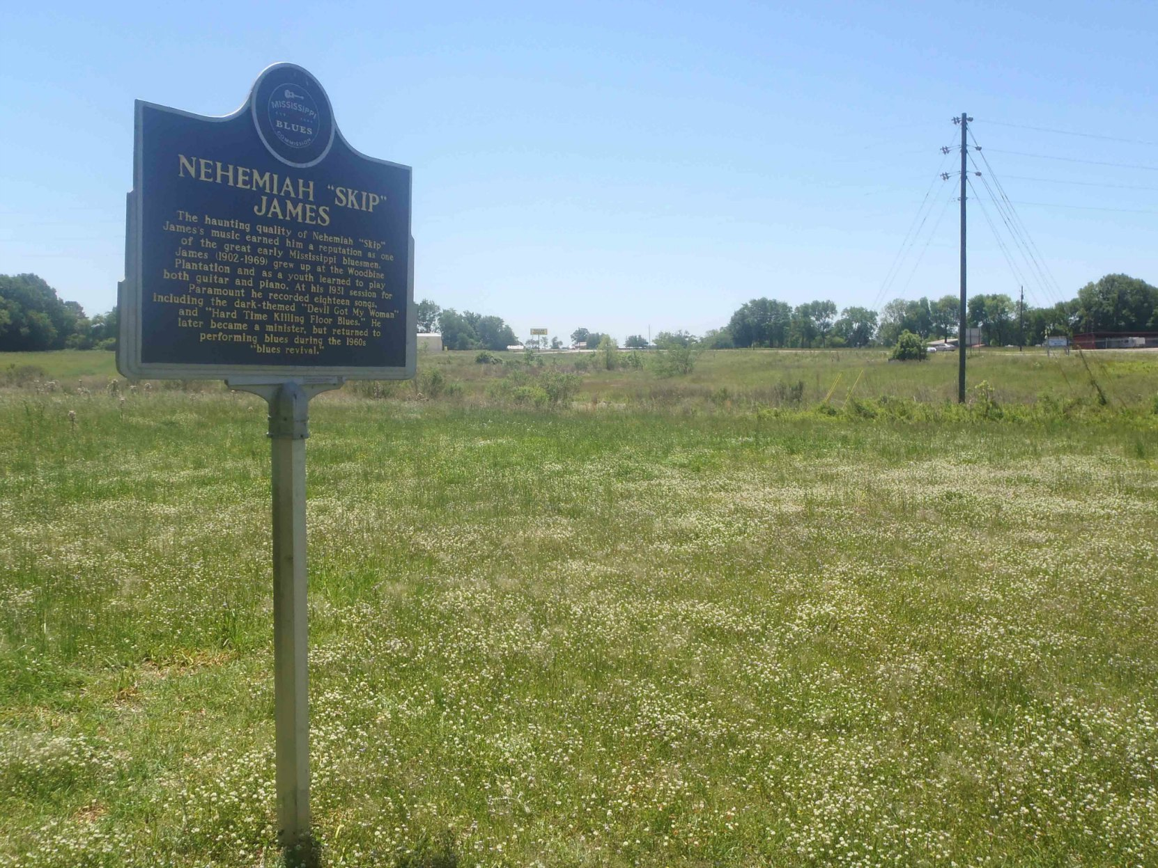 "Mississippi Blues Trail marker for Nehemiah ""Skip"" James, Bentonia, Yazoo County, Mississippi"
