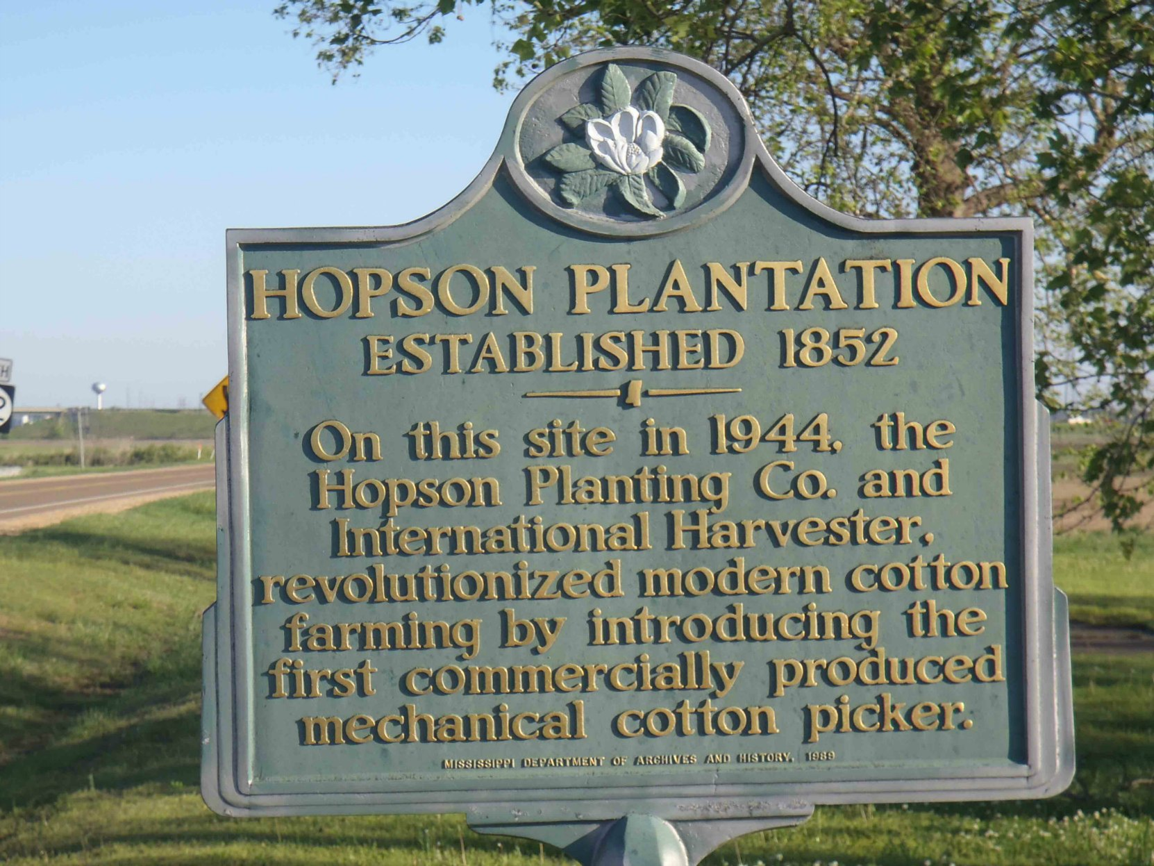 Mississippi Department of Archives & History marker for Hopson Plantation, Highway 49 at Hopson Farm, Coahoma County, Mississippi.
