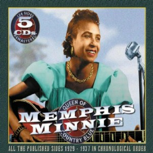 CD cover, Memphis Minnie - Queen of the Delta Blues 1929-1937, 5 CD set on JSP Records. Volume 1 of a 2 volume collection of memphis Minnie recordings.