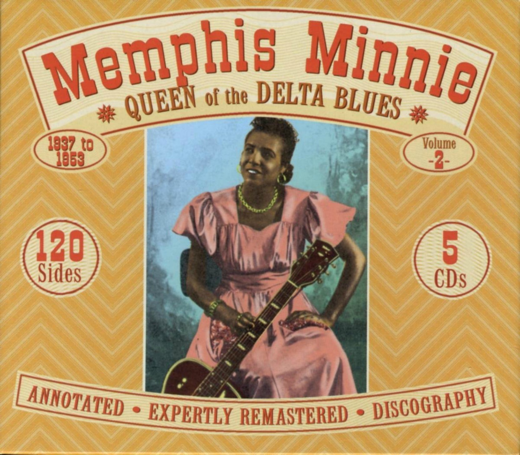 CD cover, Memphis Minnie - Queen of the Delta Blues 1937-1953, 5 CD set on JSP Records. Volume 2 of a 2 volume collection of memphis Minnie recordings.