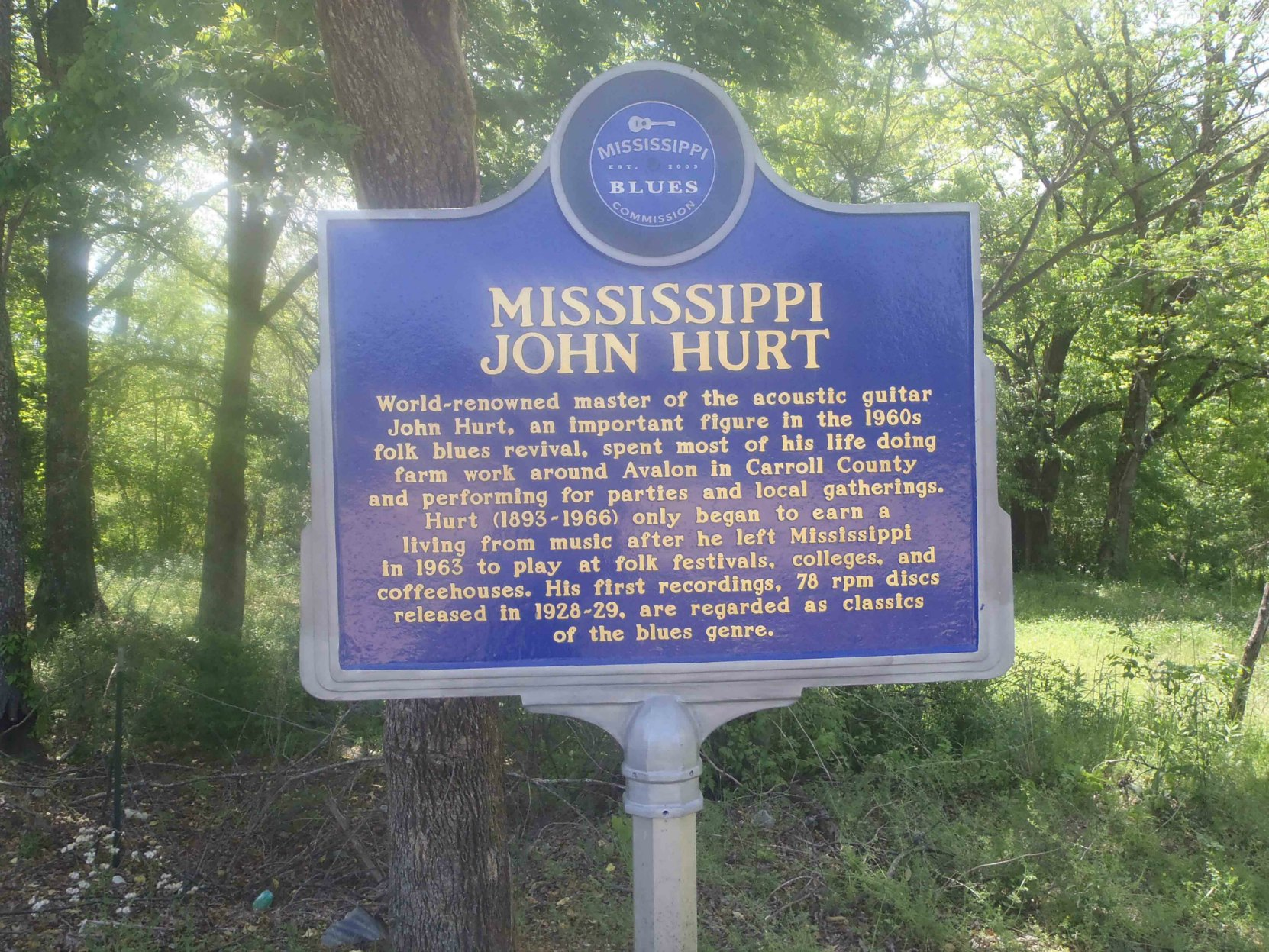 Mississippi Blues Trail marker commemorating Mississippi John Hurt, Avalon, Mississippi