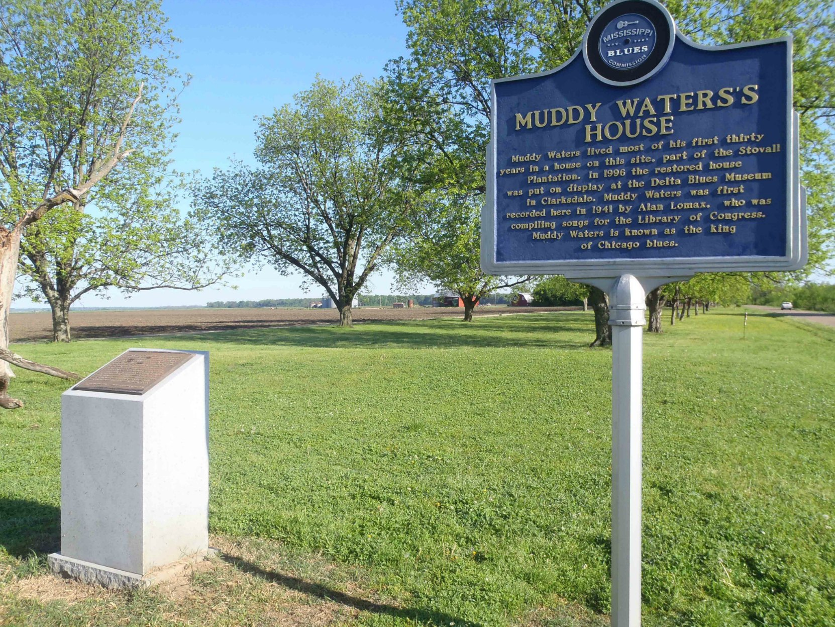 The Mississippi Blues Trail marker and the Blues Hall of Fame marker at the Muddy Waters House site, Stovall Farms, outside Clarksdale, Mississippi.