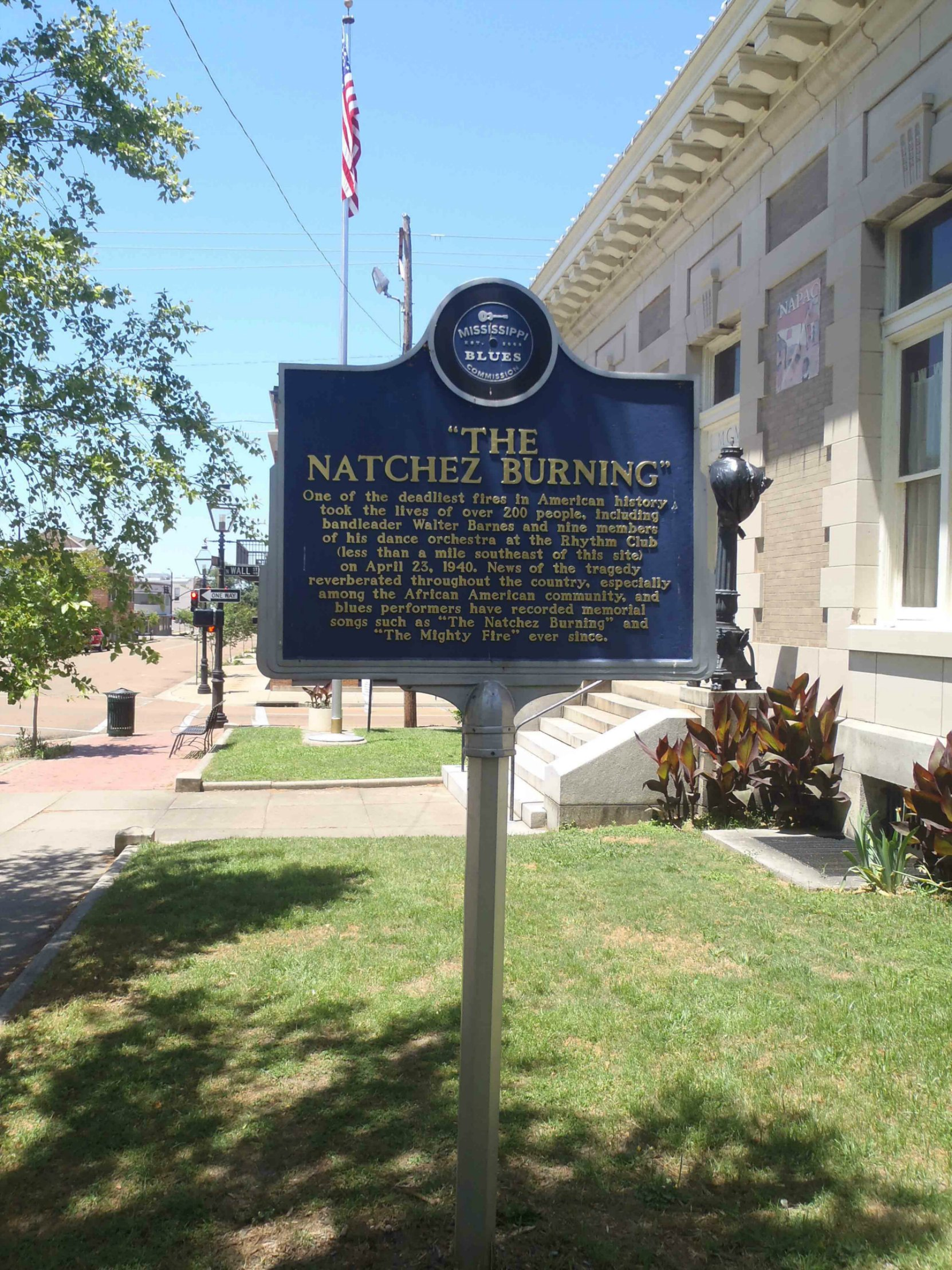 Mississippi Blues Trail marker commemorating The Natchez Burning, Natchez, Mississippi