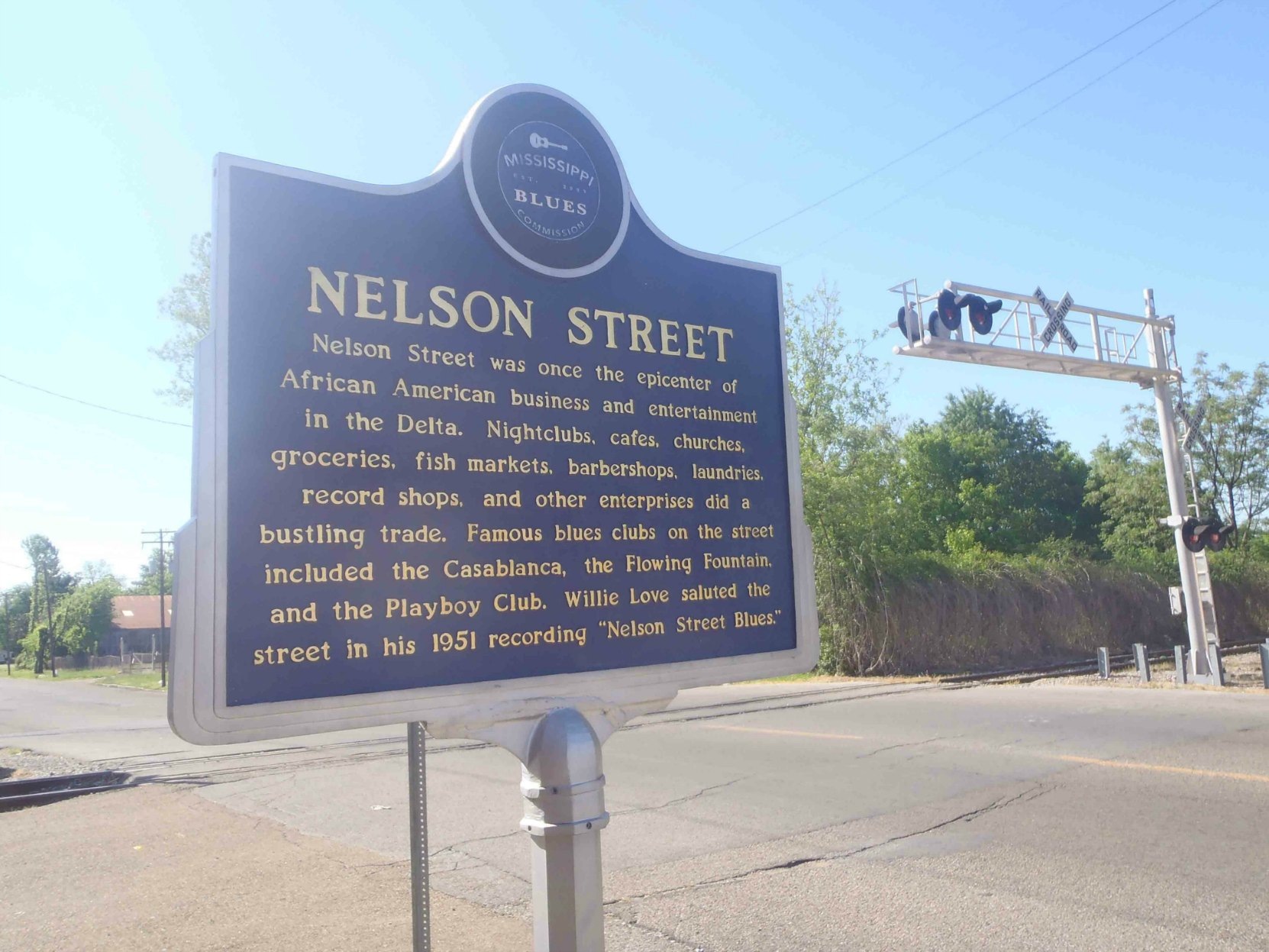 Mississippi Blues Trail marker for Nelson Street, Greenville, Mississippi