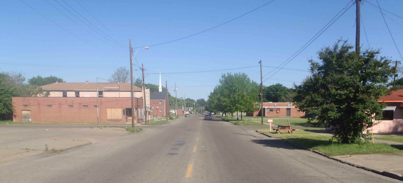 Nelson Street, Greenville, Mississippi, as seen from the Mississippi Blues Trail marker