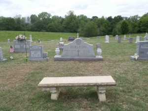 Former Johnny Burnette Trio guitarist Paul Burlison's grave in Hinds Chapel Methodist Church cemetery.