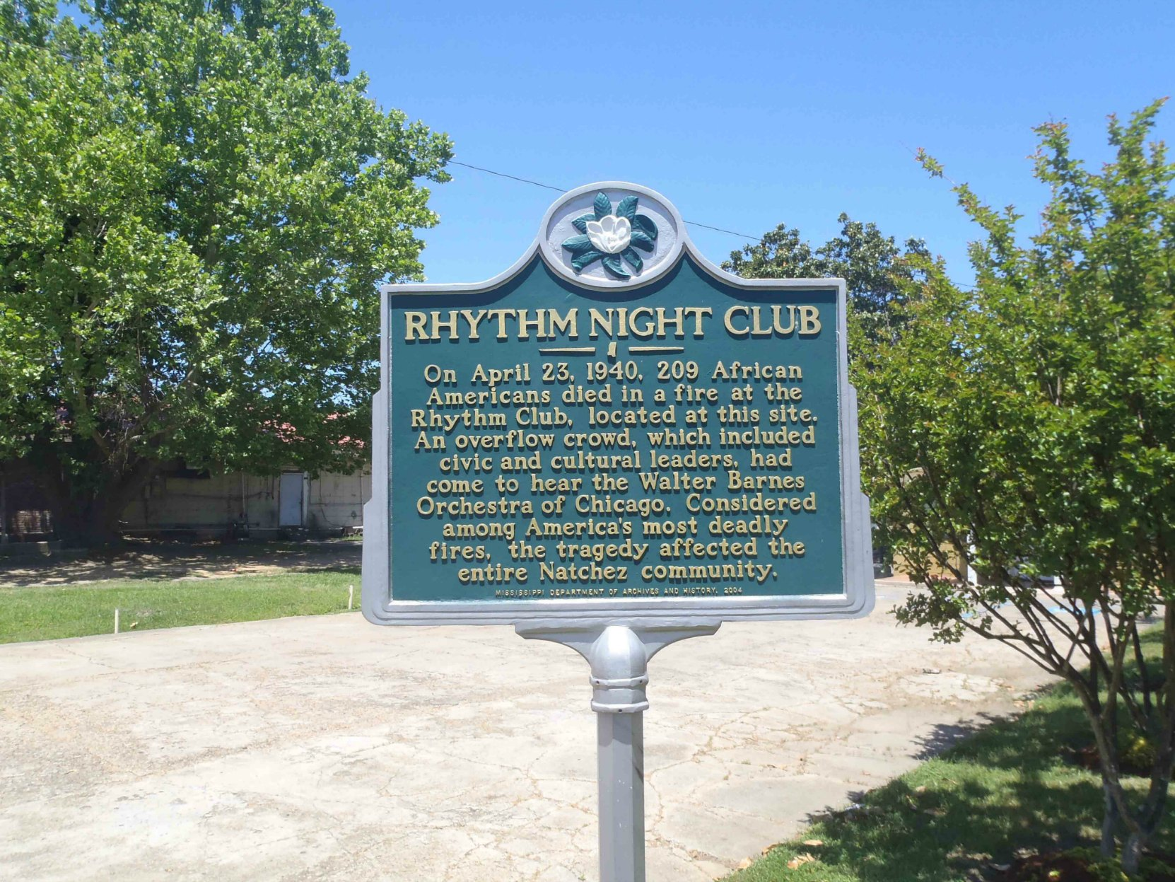 Mississippi Department of Archives & History marker for Rhythm Night Club Fire, Natchez, Mississippi