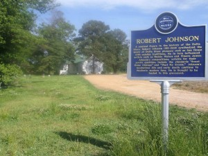Mississippi Blues Trail marker for Robert Johnson, Little Zion Missionary Baptist Church, Money Road, Leflore County, Mississippi