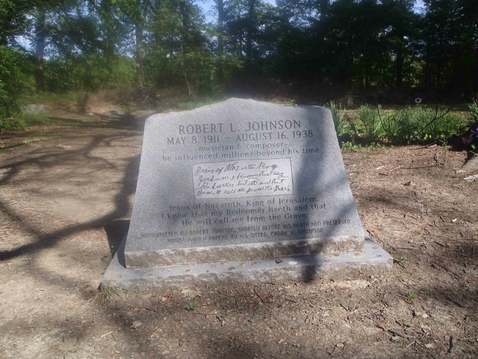 Robert Johnson grave in Little Zion Missionary Baptist Church cemetery, near Money, Leflore County, Mississippi, site of one of three reputed Robert Johnson grave sites.