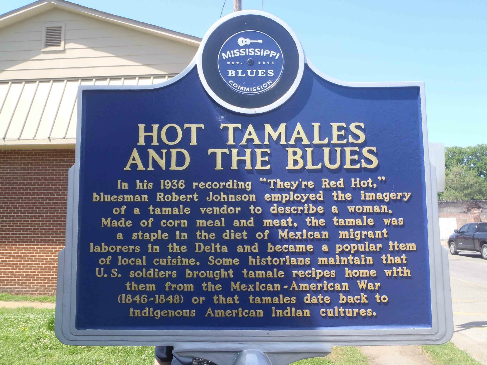 Mississippi Blues Trail marker commemorating Hot Tamales And The Blues, Rosedale, Mississippi
