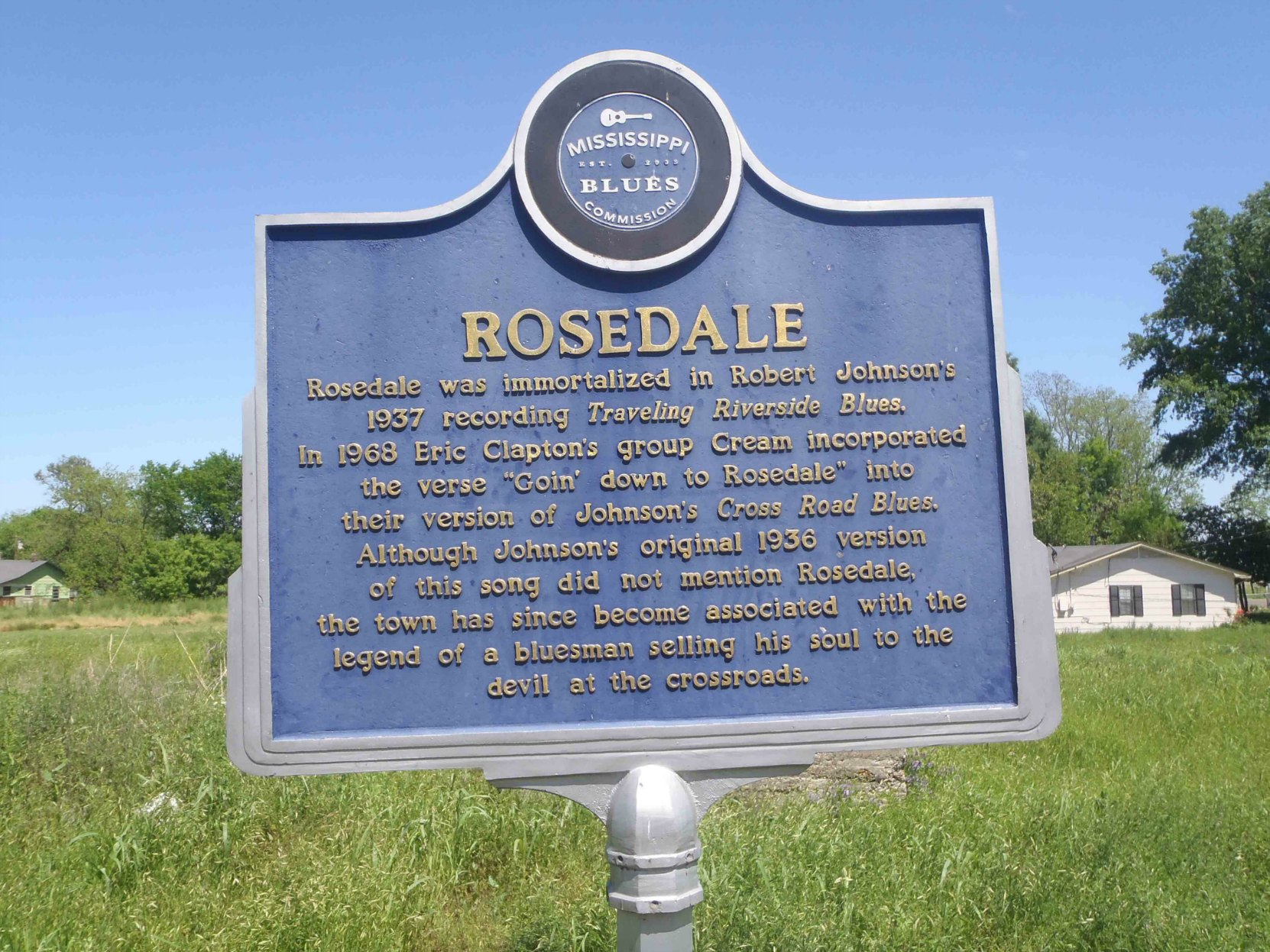 Mississippi Blues Trail marker commemorating Rosedale, at the site of Rosedale's former train station.