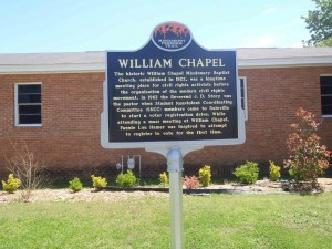 Mississippi Freedom Trail marker for William Chapel Missionary Baptist Church, Ruleville, Mississippi.
